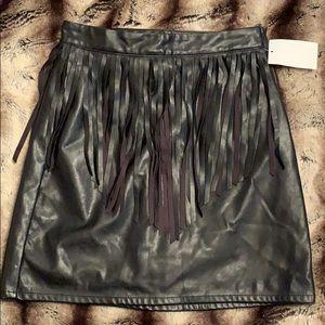 H&M Fringe Faux Leather Skirt